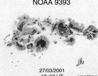 Noaa 9393, de tweede grootste groep van SC23 met een oppervlakte van 2440 MH