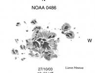 Noaa 10486, de grootste en actiefste groep van SC23 met een oppervlakte van 2600 MH
