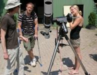 Zonnekijkdag 7 juli 2013 Jeroen met zijn ED80 op EQ3-2 Synscan met Lunt Herschel wig