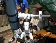 Zonnekijkdag 7 juli 2013 Jean-Paul met zijn 150 mm F5 Newton op Vixen met DSLR camera